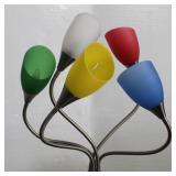 Chrome 5-Arm Floor Lamp w/Colored Shades