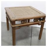 Vintage Oak End Table w/Basket Weave Top & Wood