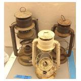 (3) Antique Barn Lanterns (missing glass)