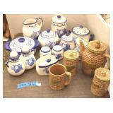 Blue Ware Pottery & Tea Set