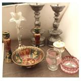 Large Candle Holders,  Rose Glass,  Bowl &