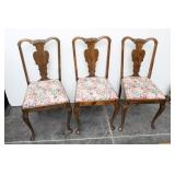 Set of 3 Oak Victorian Dining Chairs Floral