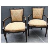 Set of 2  Vintage Upholstered Arm Chairs