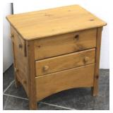 Unique Knotty Pine Side Table-3 Sided Drawers