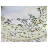 Round Embroidered Dutch Children Tablecloth Doily