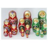 (3) Hand Painted Russian Nesting Dolls