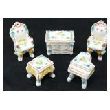 Minature Made in Japan Porcelain Parlor Furniture