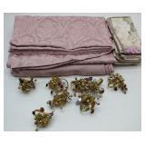 Mauve Tablecloth 10-Floral Napkins & 8 Beaded