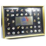 Framed Olympic Pin Collection