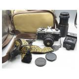 Fujica STX-1 Camera w/Extra Lens, Flash & Case