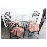 Wrought Iron Kitchen Set-Round Glass Table w/