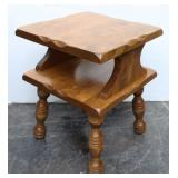 Maple Square 2-Tiered Spindle Leg End Table