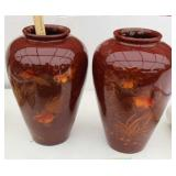 """Two 16"""" Oriental  Vases w/Gold Fish"""