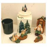 Christmas Cookie Jar, Fisherman Figurines