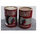 (2) Calumet Chief Baking Powder Tins (1 Unopened)