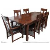 Dark Farmhouse Style Dining Table & 6 Chairs