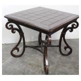 Heavy Ornate Square End Table w/Wrought Iron