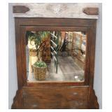 Large  Antique Hanging Swivel Mirror w/saying