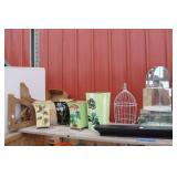 "Vintage Corner Mirror Shelf, Cage & Shelf 24"""
