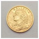 1935 Helvetia Gold 20 Francs