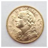1914 Swiss Gold 20 Franc Helvetia, Blanchard