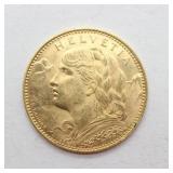 1915 Helvetia Gold 10 Francs - Uncirculated