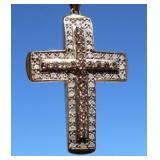 Heavy 10K Gold & Double Diamond Cross Pendant