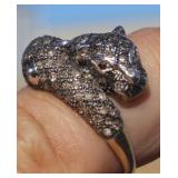 10K Gold Diamond Double Panther Ring Ruby Eyes