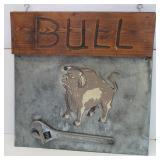 Bull/Iron Bull Wrench Metal & Wood Sign