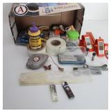 Box of Misc. Tools: Carving Knives, Chalk Line,