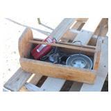 Wood Tool Tray w/Items