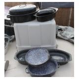 (3) Enamel Ware Plates/Baking Dishes plus