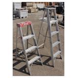 (2) Aluminum Light Duty Ladders-1 4ft. & 1-5ft.