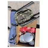 Box of Tail Lights & Mirrors, Camp Stool & Chair
