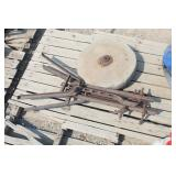 Large Antique Grinding Wheel & Base