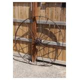 Large 54in Antique Iron Implement Wheel