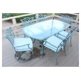 Glasstop Patio Table w/ (6) Chairs & Cushions