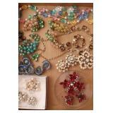 Box of Costume Pins & Earrings