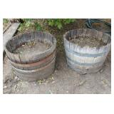 (2) Whiskey Barrel Planters