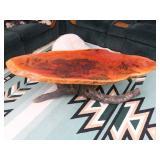 Sliced Wood Coffee Table w/ Cowboy & Indian Art