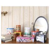 (10) Collectible Tins, Dresser Mirror, (4) Books..