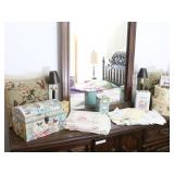 Collection of Decor Boxes, Linens, Pillows, Lamps