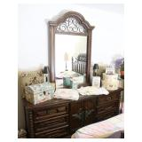 Long Dresser with Attached Mirror