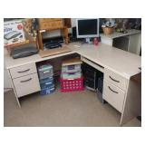 L-Shape Office Desk with 4 Drawers
