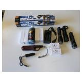 Box of: Small Flashlights, 2-Cycle Oil, &