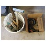 Box of Wire Brushes & Bucket of Garden Tools
