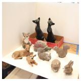 Collection of Wildlife and Cat Figurines