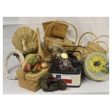 Basket & Faux Vegetable Decorator Lot