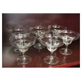Lot of 6 Clear Stemmed Glasses