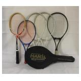 Lot of 5 Tennis Rackets, 1 with Case